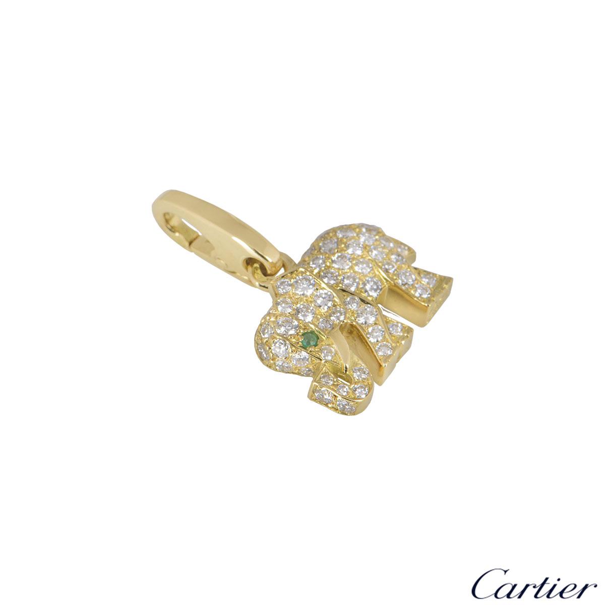 Cartier Yellow Gold Diamond Elephant Charm
